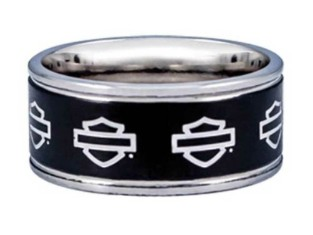 Ring B&S Outline silber auf schwarz