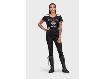 Damen T-Shirt 'Iconic V-Neck Schoulder Stripe'