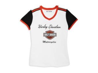 Damen T-Shirt 'Iconic V-Neck Shoulder Stripe'