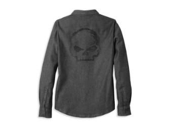Damen Hemd 'Willie G Skull Solid Denim'