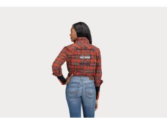 Damen Hemd 'Iconic Script Font Two Pocket Plaid Flannel'