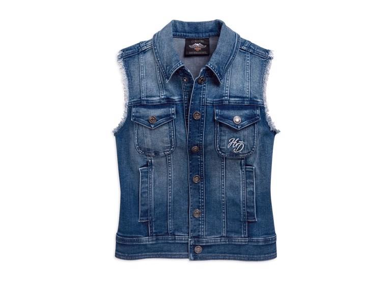 96859-19VW/000S, Vest-Flag,Fashion,Denim,Wvn,BL