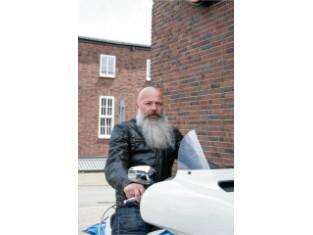 Reflective Skull Leather Jacket für Herren