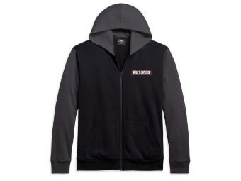 Zip Hoodie Colorblock schwarz/grau