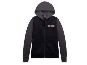 Damen Zip Hoodie Colorblocked grau/schwarz