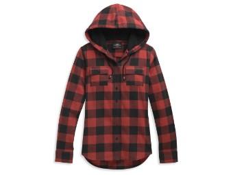 H-D Roses Hooded Plaid Shirt