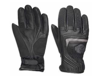 Leder & Mesh Handschuhe Bar & Shield Logo