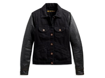 Women's Logo Leather Sleeve Denim Jacket