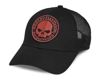 Men's Orange Skull Trucker Cap