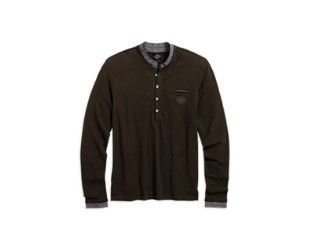 HENLEY-DOUBLE LAYER,BLK,B/L
