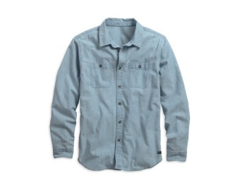 SHIRT-WASHED CHAMBRAY,BLUE,B/L