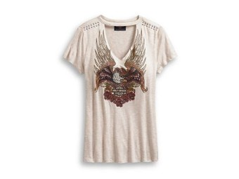 TEE-STUDDED EAGLE & ROSES,S/S,