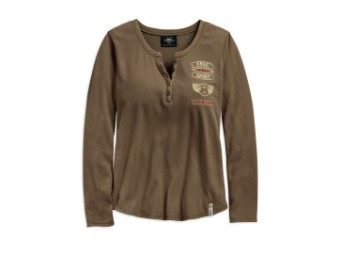 HENLEY-WINGED H-D,L/S,KNT,GRY