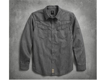 SHIRT-B/L, LS DENIM,GRY
