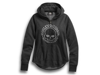 HOODIE-METALLIC SKULL,ZIP UP,L