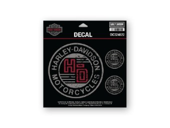 Decal, Forged Circle, SM, Black Gray & Red