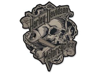 "Emblem, LG,Grim,Black&Gray, 6 1/2""Wx 8""H"