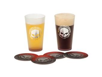H-D Skull Pint Glass Set