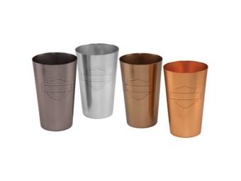 H-D Aluminium Pint Glass Set