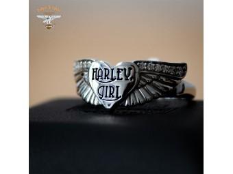 Clean Bling Harley Girl Wings Ring