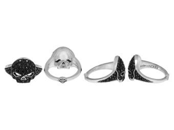 Black Bling Ladies Skull Ring