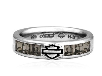 Black Ice Baguette Crystal Band Ring