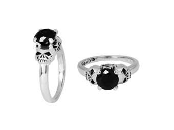 H-D Double Sided Stone Skull Ring