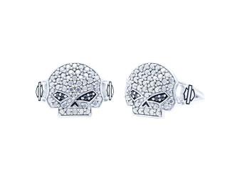 Marcasite&Black CZ Bling Skull Ring