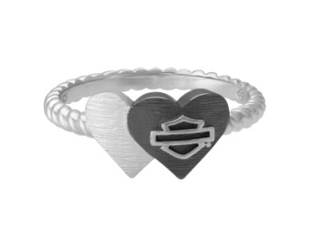 2020 VDAY Black&SILVER Double Heart Ring