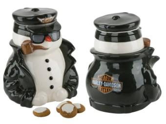 W19-Biker Snowman Cookie Jar
