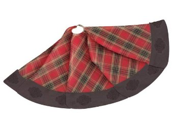 W20-Holiday Tree Skirt-Red&Green Pla id