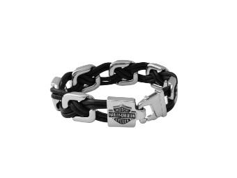 Floating Links Black Leather Bracele t