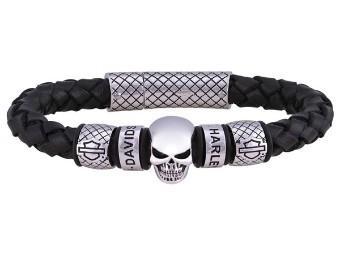 Skull Black Braided Leather Bracelet