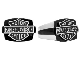 H-D Black & Steel B&S Signet Ring