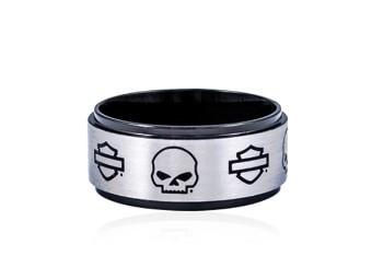 Skull & B&S on Black Steel Band Ring
