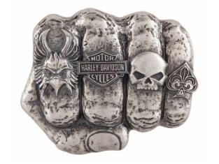 Gürtelschnalle, Fist Forward, Harley-Davidson, Silber