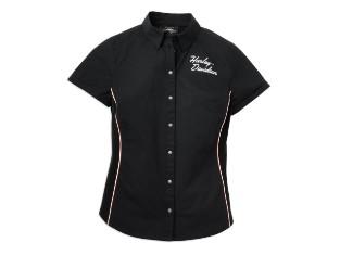 Hemd, Woven, Knopfleiste, Streifendetail, Harley-Davidson, Schwarz