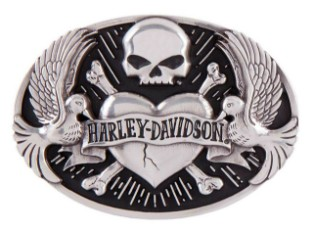 Gürtelschnalle, Sculpted Tattoo, Harley-Davidson, Silber