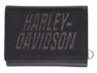 Portemonnaie, Tri-Fold, Leder, Harley-Davidson, Schwarz