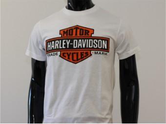 T-Shirt, Elongated Bar & Shield, Harley-Davidson, Weiß