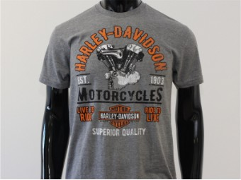 T-Shirt, Rampage, Harley-Davidson, Grau