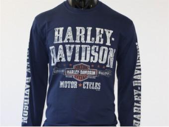 Longsleeve, Adventurer, Harley-Davidson, Blau