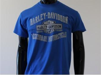 T-Shirt, Spikes, Harley-Davidson, Blau