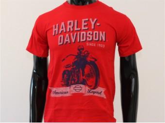 T-Shirt, Self Control, Harley-Davidson, Rot