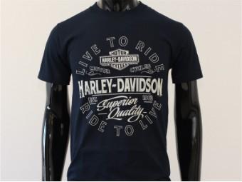 T-Shirt, Bohemian, Harley-Davidson, Dunkelblau