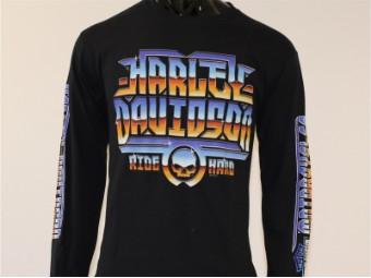 Longsleeve, Shiny, Harley-Davidson, Schwarz