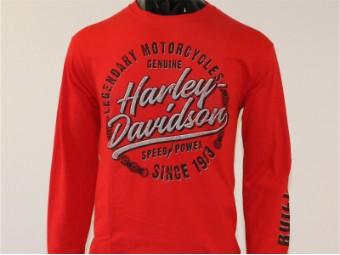 Longsleeve, Enthusiast, Harley-Davidson, Rot