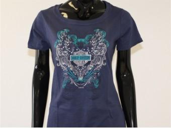 T-Shirt, Encore, Harley-Davidson, Blau