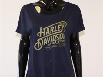 T-Shirt, Typography, Harley-Davidson, Lila