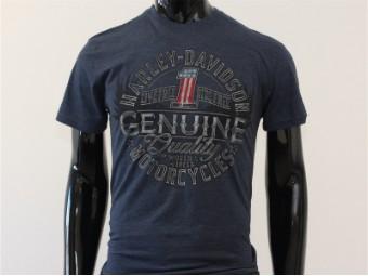 T-Shirt, Dodging, Harley-Davidson, Blau